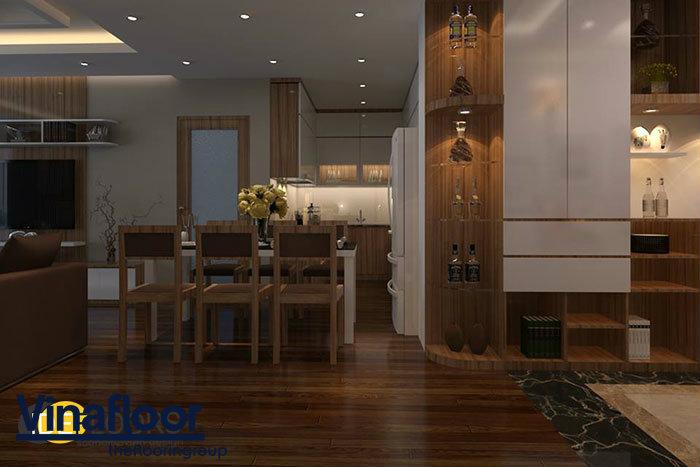 Phối hợp sàn nhựa giả gỗ và gỗ tự nhiên cho ngôi nhà thêm sang trọng